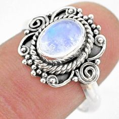 925 silver 2.17cts solitaire natural rainbow moonstone oval ring size 7.5 t43797