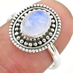 925 silver 1.96cts solitaire natural rainbow moonstone oval ring size 7.5 t43895