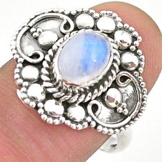 925 silver 2.00cts solitaire natural rainbow moonstone oval ring size 8.5 t43912
