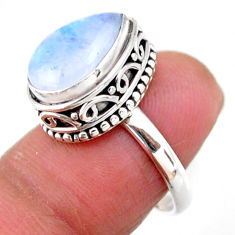 925 silver 5.32cts solitaire natural rainbow moonstone pear ring size 6.5 r51418