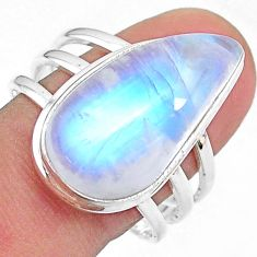 925 silver 14.61cts solitaire natural rainbow moonstone pear ring size 10 t18114
