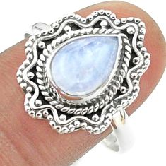 925 silver 2.78cts solitaire natural rainbow moonstone pear ring size 10 t50777