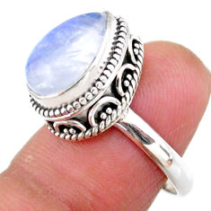 925 silver 5.08cts solitaire natural rainbow moonstone pear ring size 7 r51427