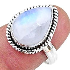925 silver 6.57cts solitaire natural rainbow moonstone pear ring size 7 t11157