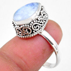 925 silver 5.31cts solitaire natural rainbow moonstone pear ring size 8 r51387