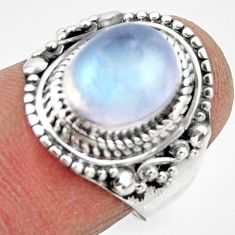 925 silver 4.42cts solitaire natural rainbow moonstone ring size 6.5 r49457