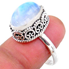 925 silver 5.30cts solitaire natural rainbow moonstone ring size 7.5 r51392