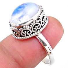925 silver 5.28cts solitaire natural rainbow moonstone ring size 7.5 r51399