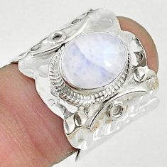925 silver 4.21cts solitaire natural rainbow moonstone ring size 7 t10337