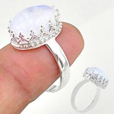 925 silver 6.26cts solitaire natural rainbow moonstone ring size 7 t20429