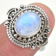 925 silver 4.28cts solitaire natural rainbow moonstone ring size 7 t46180