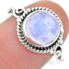 925 silver 5.52cts solitaire natural rainbow moonstone ring size 8 t15693
