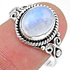 925 silver 3.98cts solitaire natural rainbow moonstone ring size 8 t15856