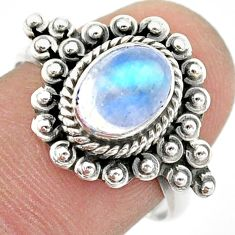 925 silver 2.01cts solitaire natural rainbow moonstone ring size 8 t42991
