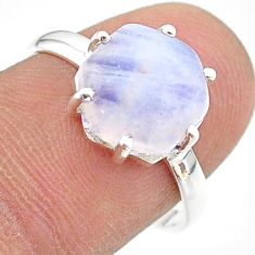 925 silver 5.45cts solitaire natural rainbow moonstone ring size 8 t43011