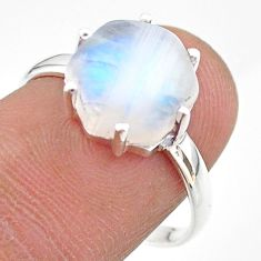 925 silver 6.19cts solitaire natural rainbow moonstone ring size 8 t43024