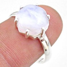 925 silver 5.42cts solitaire natural rainbow moonstone ring size 8 t43028