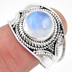 925 silver 4.93cts solitaire natural rainbow moonstone ring size 9 r51934