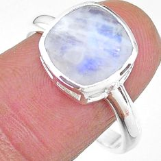925 silver 5.45cts solitaire natural rainbow moonstone ring size 9 t11331