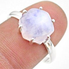 925 silver 4.85cts solitaire natural rainbow moonstone ring size 9 t43004
