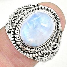 925 silver 5.35cts solitaire natural rainbow moonstone ring size 8.5 t10379