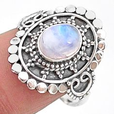 925 silver 2.13cts solitaire natural rainbow moonstone ring size 8.5 t15496