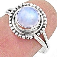 925 silver 2.41cts solitaire natural rainbow moonstone ring size 6.5 t15657