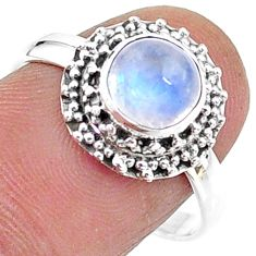 925 silver 2.67cts solitaire natural rainbow moonstone ring size 8.5 t15736