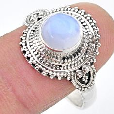 925 silver 3.20cts solitaire natural rainbow moonstone ring size 10.5 t20300