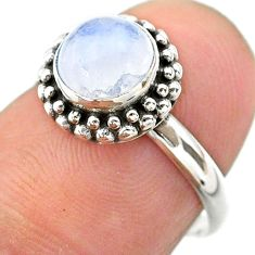 925 silver 2.41cts solitaire natural rainbow moonstone ring size 6.5 t26097