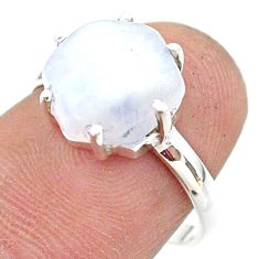 925 silver 5.43cts solitaire natural rainbow moonstone ring size 6.5 t43044