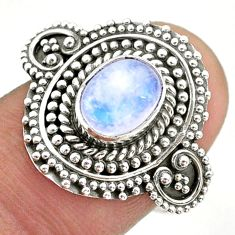 925 silver 2.02cts solitaire natural rainbow moonstone ring size 7.5 t43932