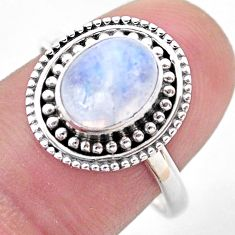 925 silver 3.25cts solitaire natural rainbow moonstone ring size 8.5 t46120