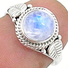 925 silver 2.29cts solitaire natural rainbow moonstone round ring size 5 t6584