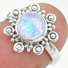925 silver 2.49cts solitaire natural rainbow moonstone round ring size 5 t6634