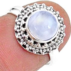 925 silver 2.39cts solitaire natural rainbow moonstone round ring size 6 t15738