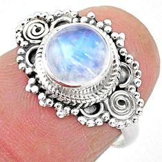 925 silver 2.27cts solitaire natural rainbow moonstone round ring size 6 t3536