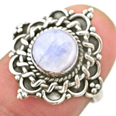 925 silver 2.53cts solitaire natural rainbow moonstone round ring size 6 t41420