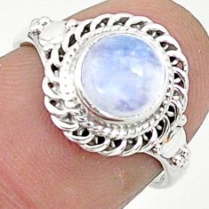 925 silver 2.60cts solitaire natural rainbow moonstone round ring size 6 t6593