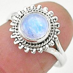 925 silver 2.53cts solitaire natural rainbow moonstone round ring size 6 t6616