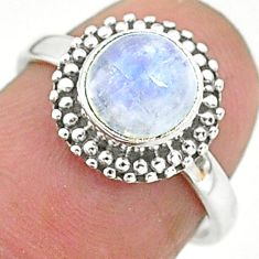 925 silver 2.66cts solitaire natural rainbow moonstone round ring size 6 t6638