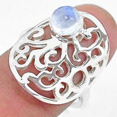 925 silver 0.80cts solitaire natural rainbow moonstone round ring size 7 t10539