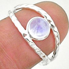 925 silver 1.05cts solitaire natural rainbow moonstone round ring size 7 t19119