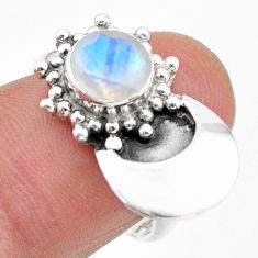 925 silver 2.69cts solitaire natural rainbow moonstone round ring size 7 t25136