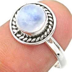925 silver 1.24cts solitaire natural rainbow moonstone round ring size 7 t26275