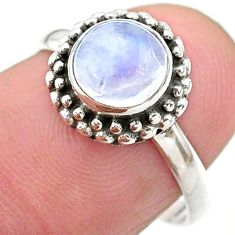 925 silver 2.58cts solitaire natural rainbow moonstone round ring size 7 t26296
