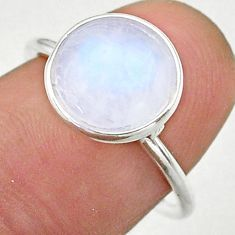 925 silver 4.71cts solitaire natural rainbow moonstone round ring size 7 t39578