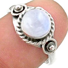 925 silver 2.14cts solitaire natural rainbow moonstone round ring size 7 t41258