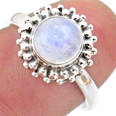 925 silver 2.43cts solitaire natural rainbow moonstone round ring size 7 t41293