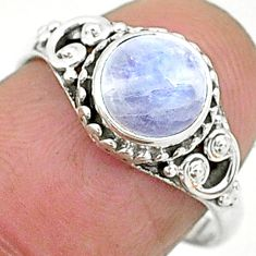 925 silver 2.42cts solitaire natural rainbow moonstone round ring size 7 t6571